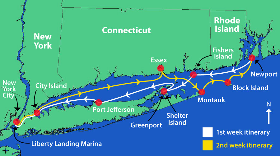 Island trip itineraries bareboat sailing charters the maptech embassy cruising guide for the long island sound will help you fine tune it even more sciox Gallery